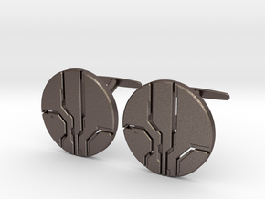 Eld Cufflinks (steel) in Polished Bronzed-Silver Steel
