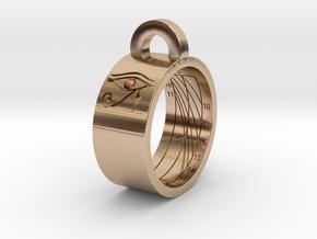 Sundial Ring Necklace Pendant (UK Latitude Model) in 14k Rose Gold Plated Brass