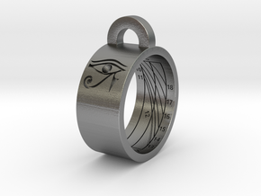 Sundial Ring Necklace Pendant (UK Latitude Model) in Natural Silver