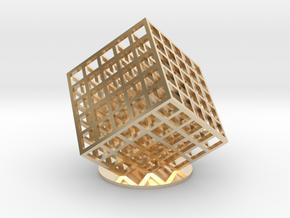 lattice cube 5x5x5 in 14k Gold Plated Brass