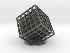 lattice cube 5x5x5 in Natural Silver