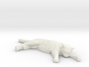 1/24 G Scale Sleepy Cat in White Natural Versatile Plastic