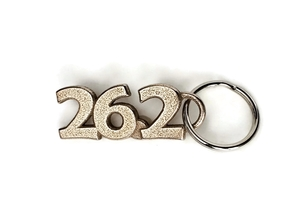 Marathon Runner Gift - 26.2 Keychain in Polished Bronzed-Silver Steel