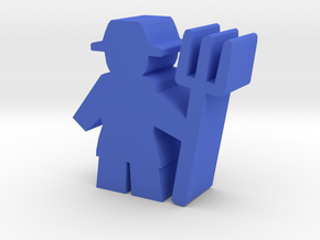 Game Piece, Farmer with pitchfork in Blue Processed Versatile Plastic