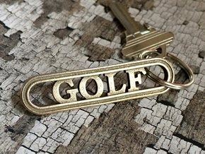 Golf Keychain - Gift for Golfer in Polished Bronzed-Silver Steel