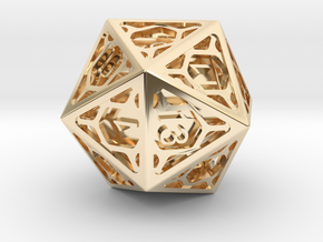 D20 Balanced - Cage die in 14K Yellow Gold