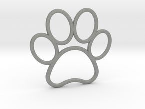 Paw Print Pendant - Large in Gray PA12
