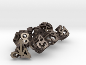 Hollow Dice in Polished Bronzed-Silver Steel: Polyhedral Set