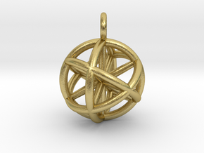 Vector Equilibrium Sphere 20mm- with 6 axis in Natural Brass