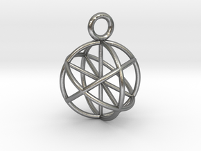 Seed of Life Pendant 20mm  in Natural Silver