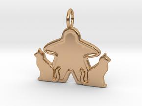 Cat meeple pendant  in Polished Bronze