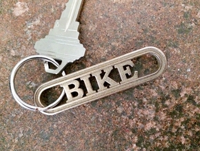 Bike Keychain - Great Gift for Cyclers in Polished Bronzed-Silver Steel
