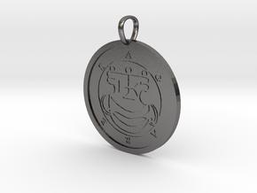 Agares Medallion in Polished Nickel Steel
