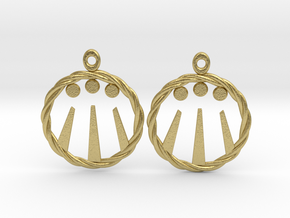 Celtic Awen Earrings in Natural Brass
