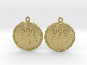 Celtic Awen Earrings v2 in Natural Brass
