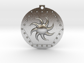 Sunburst Hex Pendant in Natural Silver