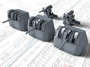 "1/600 RN 4"" MKV P Class Guns x5 in Smoothest Fine Detail Plastic"