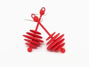 Long Mod Earrings - Bright Mod Colors in Red Processed Versatile Plastic