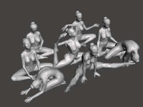 Low-Poly Dancer collecting 001 in White Natural Versatile Plastic: 1:10