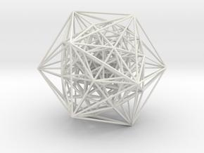 600-cell, Perspective Proj, Vertex centered, 7.6mm in White Natural Versatile Plastic