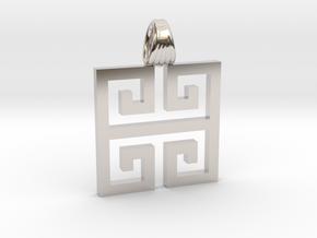 Greek square [pendant] in Platinum