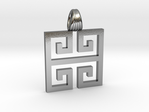Greek square [pendant] in Polished Silver