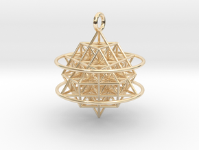 64 Tetrahedron Grid with Boundary Circles in 14k Gold Plated Brass
