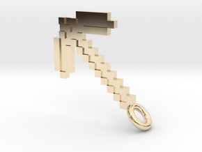Minecraft Pickaxe Pendant in 14K Yellow Gold