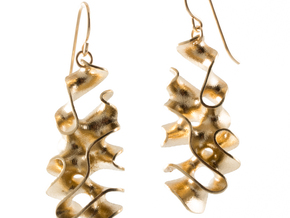 Porifera - ribbon earrings in Natural Brass