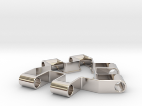 Material test part 1/2, Modular building block in Rhodium Plated Brass
