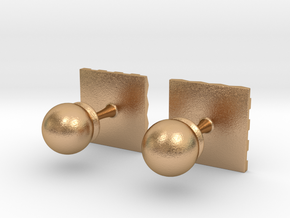 Chessboard Cufflinks in Natural Bronze