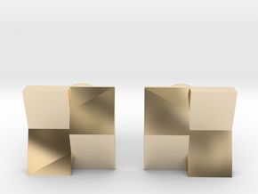 Checkered Cufflinks in 14k Gold Plated Brass