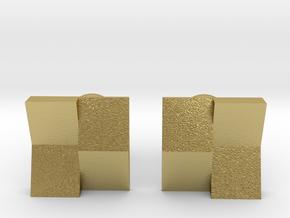 Checkered Cufflinks in Natural Brass