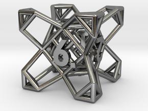 Crystal Dice, D6 - Standard gaming die in Polished Silver