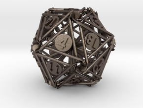 Nails D20 - Twenty sided gaming dice in Polished Bronzed-Silver Steel