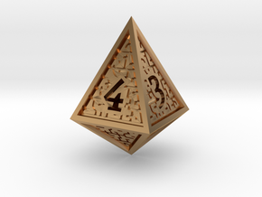Hedron D4 (Hollow), balanced gaming die in Polished Bronze