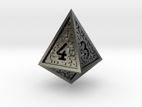 Hedron D4 (Hollow), balanced gaming die in Polished Silver