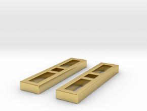 Ladder Earrings - Geometric 3D Printed Earrings in Polished Brass