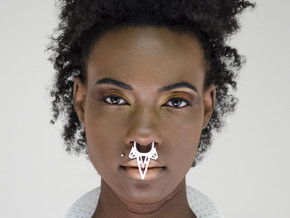 Large Tribal Nose Ring in White Natural Versatile Plastic
