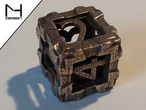 Open Dice in Polished Bronzed Silver Steel