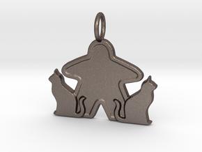 Cat meeple pendant  in Polished Bronzed-Silver Steel