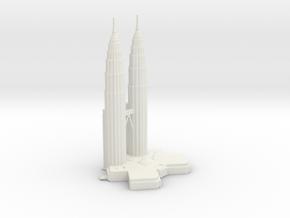 Petronas Towers - Kuala Lumpur (6 inch) in White Natural Versatile Plastic