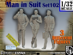 1/32 Man in Suit Set102 in White Natural Versatile Plastic
