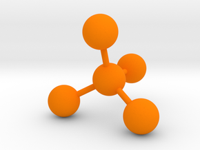 Tetrahedral Molecule Ornament in Orange Processed Versatile Plastic