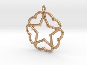 Hearts Hidden Curved Pentacle Pendant in Natural Bronze