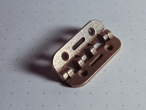 Snap Together 27mm x 15mm Micro Hinge - Stainless  in Polished Bronzed Silver Steel