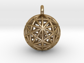 Earth Grid - disdyakis triacontahedron - 26mm diam in Polished Gold Steel