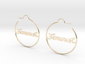 Feminist Hoop Earrings in 14k Gold Plated Brass