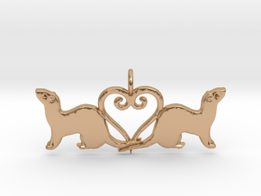 Double ferret pendant middle hanger 1 in Polished Bronze