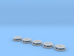 O Sewer Lid & Ring V3 5ea in Smooth Fine Detail Plastic